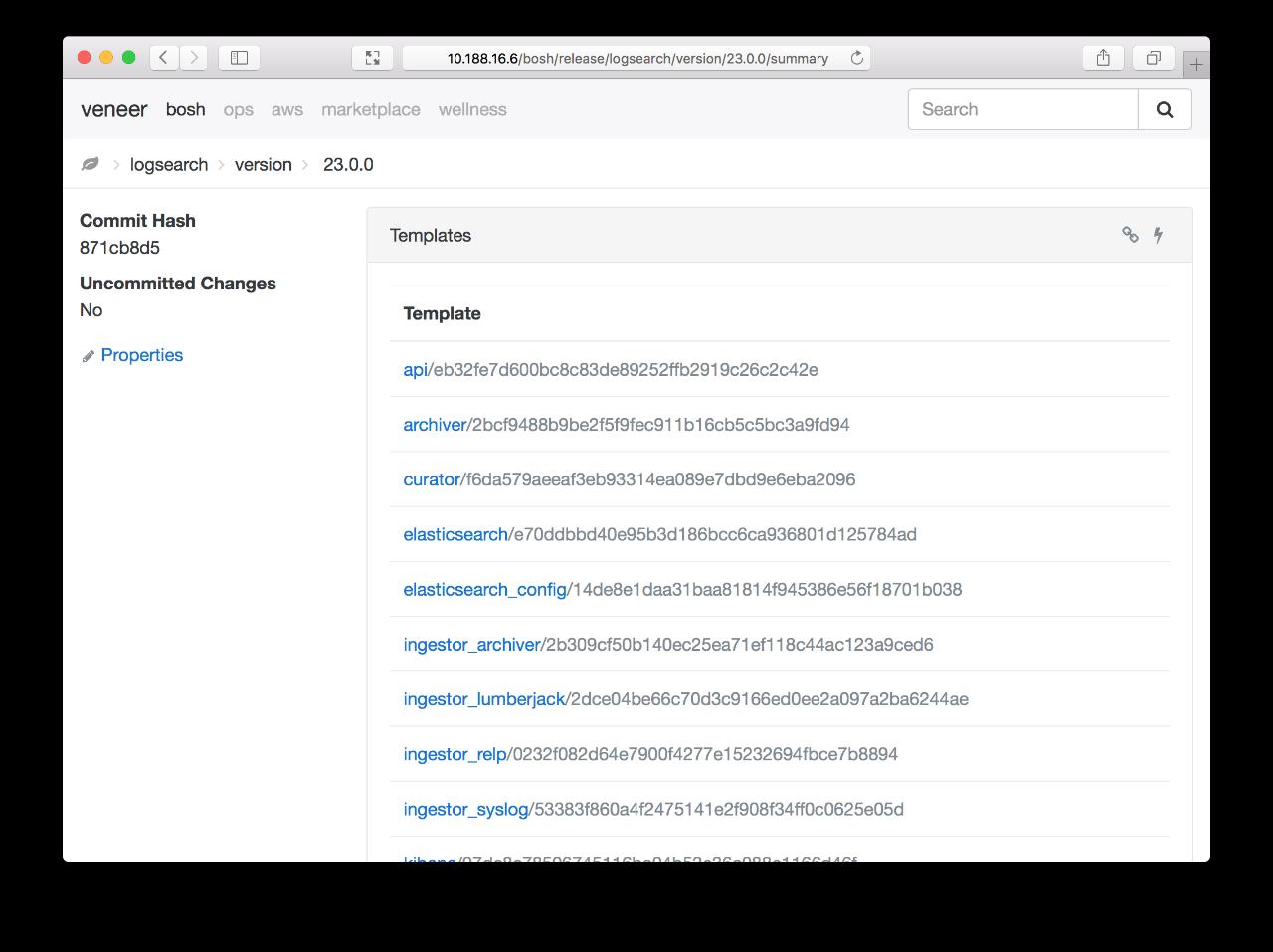 Screenshot: bosh-release-version